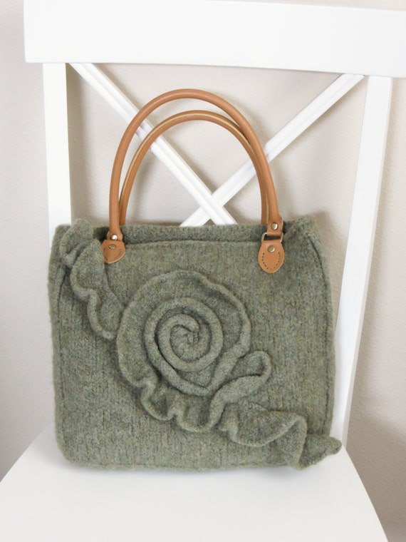 Knit and Felted Purse Pattern Bag Tote by DeborahOLearyPattern