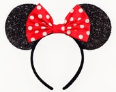 Minnie Mouse Ears Mickey Mouse Ears Classic Headband Cute Red Minnie Mouse Bow Polkadot Minnie Mouse Headband Minnie Ears Mickey Ears White