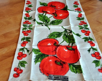 Parisian Print DISH TOWEL - Red Cherries -  Pure Linen - Never Used