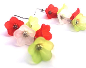Christmas Earrings - Lucite Flower Earrings - Red Dangle Earrings - Christmas Jewelry - Gift For Her - Stocking Stuffer - Holiday Outfit