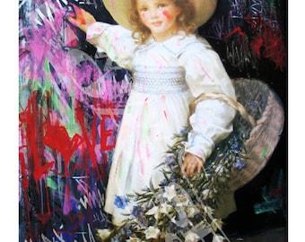 Little Vandal A3 pre graffalite graffiti girl in dress spray paint street art print