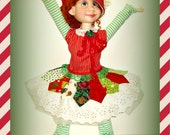 "Duda's ""Kitchen Sink Christmas!"" - Handmade Holiday Doll Clothes for 19 inch Trinket Box Kids BJD by Kimberley Arnold"
