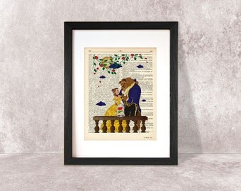 Beauty and the Beast print-Nursery print-Fairy Tale print-Beauty and Beast dictionary print-children wall art-design by NATURA PICTA-DP057