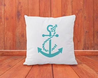Anchor pillow-anchor pillow cover-beachy pillow-home decor-turquoise anchor pillow cover-nautical pillow-anchor-by NATURA PICTA-NPCP021