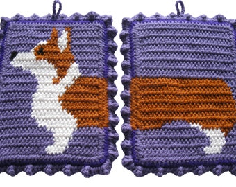 Corgi Pot Holder Set. Pembroke welsh corgi dog trivet. Tricolor corgis. Thick large potholders. Dog decor. Corgi dog art