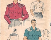Great Unused Vintage 1950s Advance 6612 Men's Sports Shirt with Optional Contrast Sewing Pattern Sz Medium