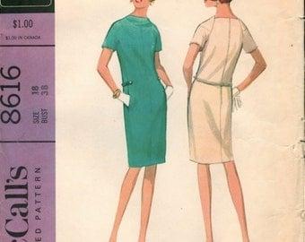 Fabulous Vintage 1960s McCall's 8616 Designer Pauline Trigere Slim Shift Dress Sewing Pattern B38