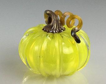 """3.5"""" Glass Pumpkin by Jonathan Winfisky - Transparent Solar Lemon Citron - Hand Blown Glass"""