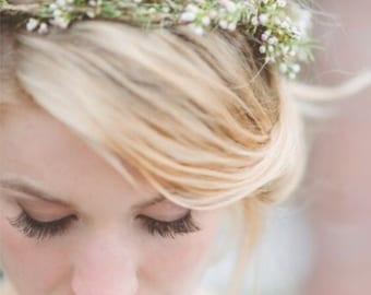 Babys Breath Flower Crown / Halo / Hair Wreath - fr Bride Bridal Wedding Party - THINNER Version