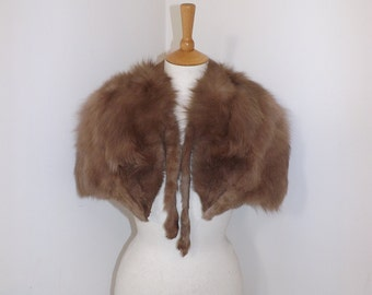 Vintage 1940s real fox fur light brown grey stole cape wrap by Browns of Chester
