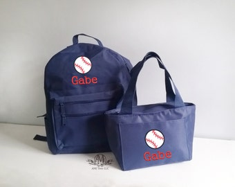 Personalized toddler backpack and lunch bag,  personalized baseball backpacks for boys, dinosaur backpack set