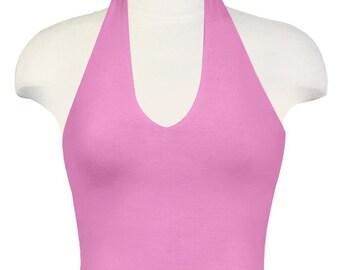 YOGA Halter Tank / Beach Top / Pink Halter Top / Tankini / Workout Top / Yoga Wear / Sleeveless Top / Ladies Shirt / FREE us Ship / Pink Top