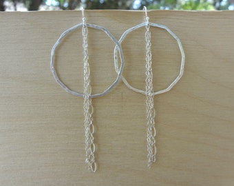 Sterling silver hand-hammered hoop earrings with chains. Minimal abstract 18 gauge soldered polygon hoop earrings for women and teens.