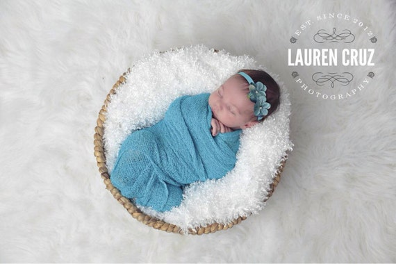 Double Hydrangea Headband AND /OR Turquoise Stretch Knit Wrap , perfect for photo shoots, new baby, bebe, photographer, Lil Miss Sweet Pea 4