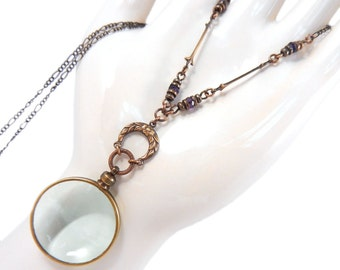 Magnifying Glass Necklace, Glass Lens Necklace, Steampunk Monocle, Long Necklace