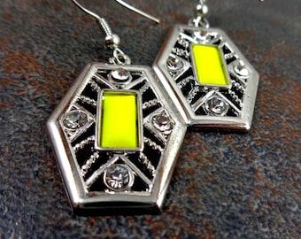 Statement Earrings, Yellow Earrings, Yellow and Silver, Geometric Earrings, Big Earrings, Metal Earrings, Big Drop Earrings