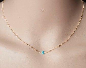 Minimalist Tiny Turquoise necklace - Dainty Turquoise Solitaire Necklace, simple everyday jewelry. Dainty Necklace.