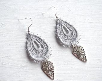Silver Charm and Grey Lace Boho Tribal Arrowhead Earrings