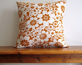 Pillow Cover Orange Flower Print Japanese cotton/linen. Beautiful Bold Pattern Cushion. Retro Inspired Pillow