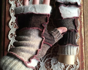 Fingerless Texting Gloves, Upcycled Wool Patchwork, Handcrafted from Recycled Sweaters, #G186