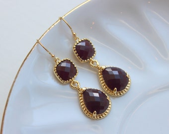 Gold Burgundy Maroon Wine Earrings - Marsala Gold Wedding, Marsala Earrings, Wedding Earrings, Marsala Jewelry, Gold Maroon Jewelry