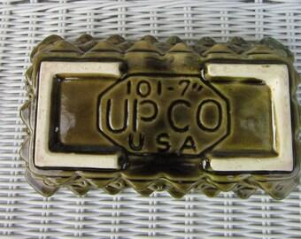 Vintage Green UPSO Planter 101-7-Olive Green Geometric, Geometric Planter, Green Planter, Olive Green Planter
