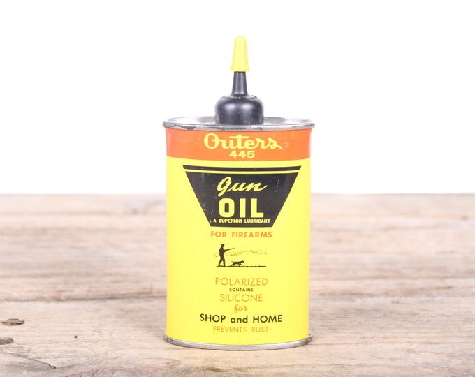 Vintage Outers 445 Gun Oil / Antique Gun Oil / Yellow Metal Can / Hunting Decor / Camping Decorations / Old Fishing Decor / Outdoor Decor /