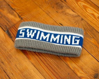 90s SWIMMING Ear Warmer Headband - gray blue white