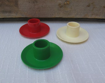 Vintage Hallmark Christmas Candle Holders, Set of 3, Red Green Cream Plastic Taper Candle Holders