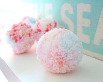 MINT + CORAL + PEACH pom pom garland - a sweet mix of confetti pom poms with mint + aqua + coral + light pink + peach + white + yellow yarn
