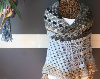Crochet Triangle Shawl,Knit Shawl,Cape,Boho Clothing,Hippie Clothes,Womens Clothing,One Size,Blue,Brown,Black,Purple,Unique,