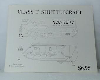 Vintage Star Trek Blueprints Class F Shuttlecraft 1989 David Winfrey Mega Prints 6 total sheets in folder. Nice condition. DanPickedMinerals