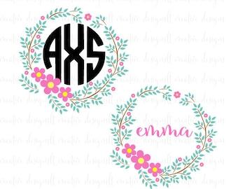 Floral Wreath SVG, Floral Wreath Clip Art, Floral Circle Printable, SVG Files, Cricut Files, Silhouette Files, EPS, pdf, png