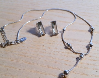 Vintage Ball Drop Necklace With Smoky Gray Quartz Earrings