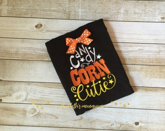 Girl's Monogrammed Halloween Long Sleeved Shirt or Onesie - Candy Corn Cutie