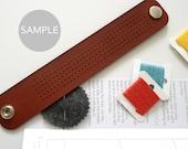 SAMPLE - Cross Stitch Leather Bracelet -- Limited Quantity
