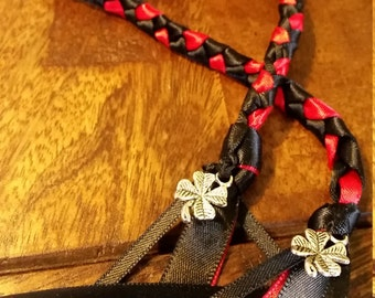 hand fasting cords red and black hand binding cords with silver tone shamrock clover charms