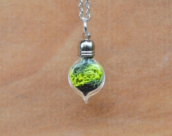 Moss Necklace, Terrarium Necklace, Plant Necklace, Moss Terrarium, Terrarium Jewelry, Glass Vial Necklace, Gifts for Spring, Miniature