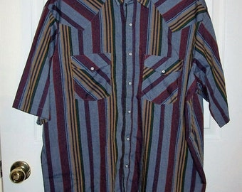 Vintage Men's Blue Gray Striped Snap Front Western Shirt by Western Frontier XXLT Only 8 USD
