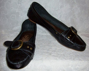 Vintage Ladies Black Leather Slip Ons Loafers by Matisse Size 11 Only 8 USD