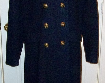 Vintage Ladies Navy Blue Wool Pea Coat by Leslie Fay Size 16 Only 35 USD