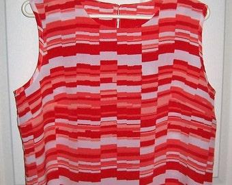 50 CENT SAlE Vintage Ladies Orange & White Geometric Print Tank Top by Blair Medium Now .50 USD