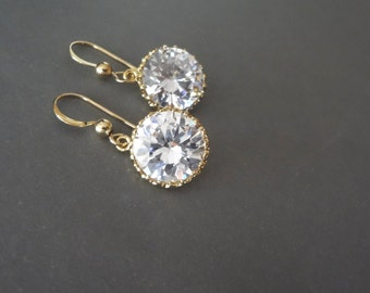 Cubic Zirconia earrings ~ AAA+,Round~Brides earrings,Gold filled French wires, Wedding earrings,Sparkles like diamonds, Bridesmaids earrings