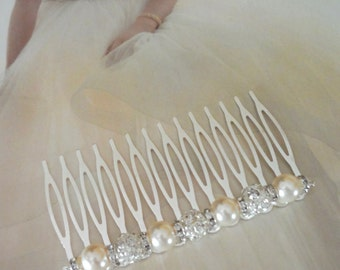 """Bridal hair comb ~ 3""""~ Pearl and rhinestone hair comb ~ Hair accessories ~ Wedding hair piece ~ Crystal hair comb ~Brides hair comb~ FROSTED"""