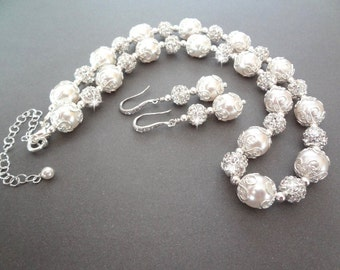 Pearl necklace and earrings set ~ Bridal jewelry set ~ Swarovski pearls,Brides pearl jewelry set,Wedding jewelry,Sterling ear wires ~ LACEY