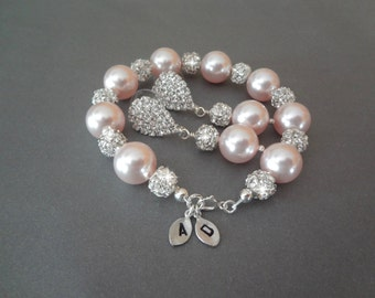 Pink pearl bracelet and earring set ~ Chunky ~ Brides pearl set ~ Swarovski pearls and crystals ~Personalized,Hand stamped,initials~ LOLITA