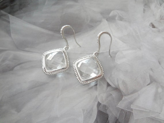 SALE, Crystal wedding earrings, Diamond shaped earrings, Brides earrings, Bridesmaids earrings, Wedding earrings, Earrings for a bride, Gift