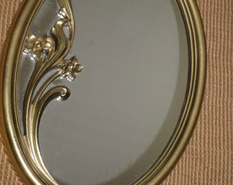 Oval/GOLD/PLASTIC/MIRROR/Ready To Hang/Mid Century/Syrocco