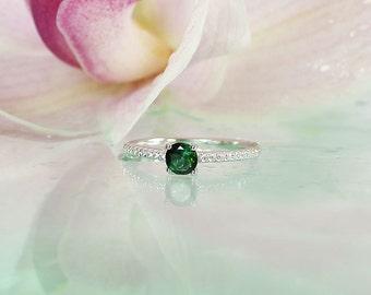 Gemstone Solitaire Ring, Tourmaline Sterling Ring, Green Tourmaline, Sterling Silver, Tourmaline Ring, Natural Tourmaline Jewelry