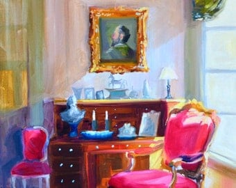FRANÇAIS INTÉRIEUR, Art Print of Original painting of a French interior, Ornate pink chair, window scene